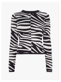 Karen Millen Zebra Print Cardigan at John Lewis