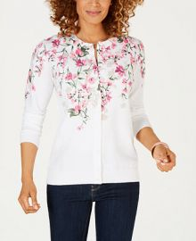 Karen Scott Floral-Print Cardigan  Created for Macy s   Reviews - Tops - Women - Macy s at Macys