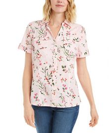 Karen Scott Plus Size Floral Print Cotton Shirt  Created for Macy s   Reviews - Tops - Plus Sizes - Macy s at Macys