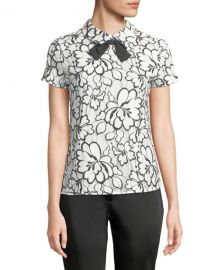 Karl Lagerfeld Floral Lace Short-Sleeve Bow Tie Top at Last Call