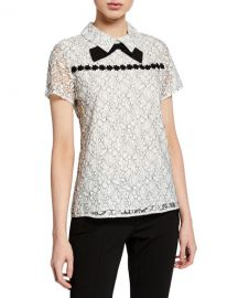 Karl Lagerfeld Lace Floral Bow-Neck Top at Last Call