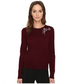 Kate Spade New York Embellished Brooch Sweater Midnight Wine at 6pm