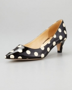 Kate Spade polka dot kitten heels at Neiman Marcus