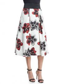 Katie Magnolia-Print Pleated Midi Skirt at Neiman Marcus