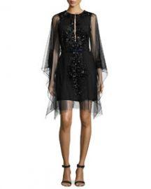 Kaufman Franco Moroccan Jeweled Mesh Dress Onyx at Neiman Marcus