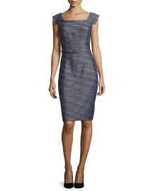Kay Unger New York Tweed Sheath Dress  Navy   Neiman Marcus at Neiman Marcus