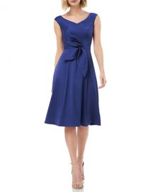 Kay Unger New York V-Neck Sleeveless Mikado Cocktail Dress w  3D Bow Detail at Neiman Marcus