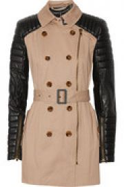 Keanu quilted faux leather and cotton trench coat at The Outnet