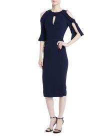 Keeling Keyhole Slit-Sleeve Midi Crepe Sheath Dress at Bergdorf Goodman