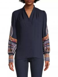 Keely Embroidered-Sleeve Blouse at Saks Fifth Avenue