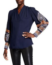 Keely V-Neck Silk Blouse with Embroidery at Neiman Marcus