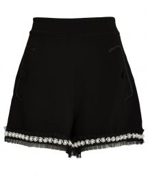 Kendrick Pearl-Trimmed Crepe Shorts at Intermix