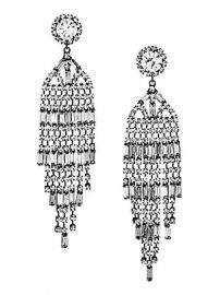 Kenneth Jay Lane - Gunmetal-Plated  amp  Crystal Banquette Waterfall Post Earrings at Saks Fifth Avenue