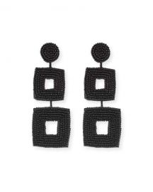 Kenneth Jay Lane Double Square Seed Bead Drop Earrings  Black at Neiman Marcus