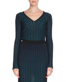 Kenzo Fitted Long-Sleeve V-Neck Sweater at Neiman Marcus