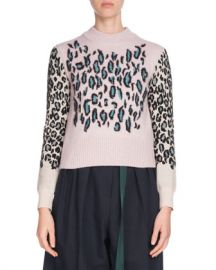 Kenzo Leopard-Print Wool Pullover Sweater at Neiman Marcus