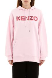 Kenzo Logo Embroidered Hoodie at Cettire