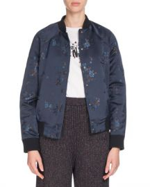 Kenzo Teddy Floral Snap-Front Bomber Jacket at Neiman Marcus