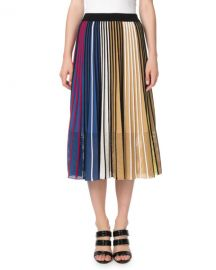 Kenzo Vertical-Stripe Pleated Mesh Midi Skirt at Neiman Marcus