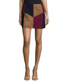 Kewa Patchwork Suede Skirt by Lamarque at Neiman Marcus