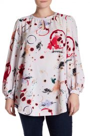 Keyhole Blouson Sleeve Printed Blouse  at Nordstrom Rack