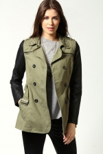 Khaki and leather jacket at Boohoo