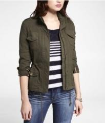 Khaki cotton jacket at Express