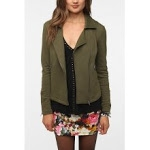 Khaki moto jacket at Urban Outfitters at Urban Outfitters