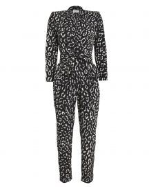 Kieran Leopard Silk Crepe Jumpsuit at Intermix