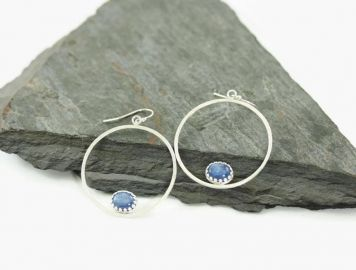 KimJakumDesigns Serenity Silver Kyanite Hoops at Etsy