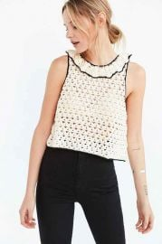 Kimchi Blue Crochet Ruffle-Neck Sweater at Urban Outfitters