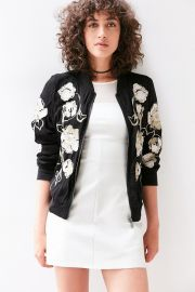 Kimchi Blue Molly Embroidered Bomber Jacket in black at Urban Outfitters