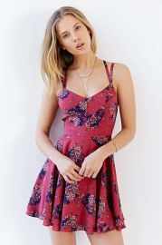 Kimchi Blue Scarlett Fit and Flare Dress in Red at Urban Outfitters