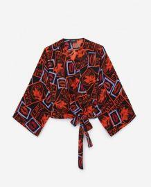 Kimono-Style Top with Kiss Print at The Kooples