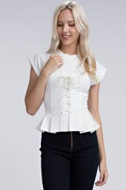 Kira Peplum Top by Honey Punch at Amannequin