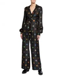 Kirin Abstract Floral Jacquard Tie-Front Jumpsuit at Neiman Marcus