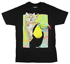 Kitty Cat Toucan Ride Funny Humorous Adult T-shirt at Amazon