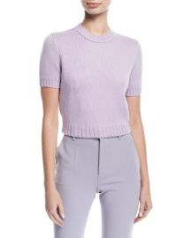 Knit Short-Sleeve Crop Sweater by Miu Miu at Bergdorf Goodman