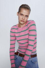 Knit Sweater with Stripes by Zara at Zara