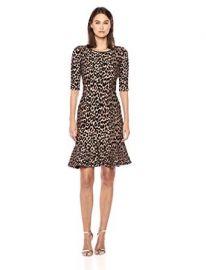 Knit Textured 3/4 Sleeve Cheetah Mermaid Hem Dress at Amazon
