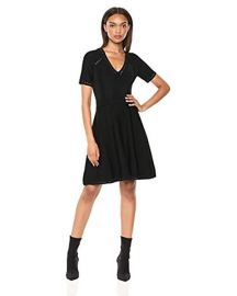 Knit Textured V-Neck Short Sleeve Pointelle Flare Dress at Amazon