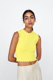 Knit Top with Scalloped Trims at Zara