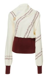 Knit-Trimmed Printed Crepe Blouse at Moda Operandi