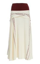 Knit-Trimmed Printed Crepe Midi Skirt at Moda Operandi