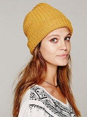 Knit beanie in mustard at Free People