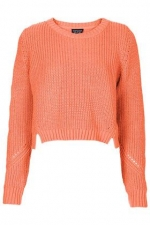 Knitted Crop Sweat in orange at Topshop