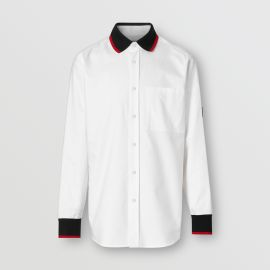 Knitted Detail Cotton Oxford Oversized Shirt at Burberry