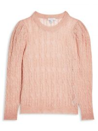 Knitted Pink Gauzy Cable Crew Neck Sweater at Topshop