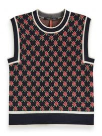 Knitted Vest Allover Graphic Pattern Combo N at Scotch and Soda