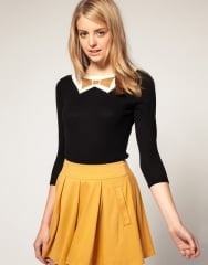 Knitted sweater with metallic bow at Asos